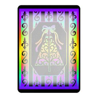 "Rainbow And Black Swirls Stripes Christmas Tree 5"" X 7"" Invitation Card"