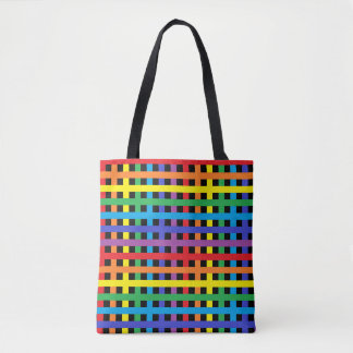 Rainbow and Black Weave Tote Bag