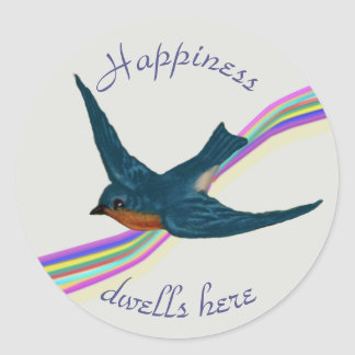 Rainbow and Bluebird of Happiness Classic Round Sticker