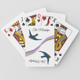 Rainbow and Bluebirds, Custom Name Playing Cards