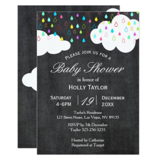 Rainbow and Clouds Baby Shower Invitation