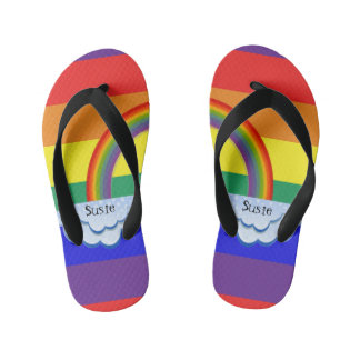 Rainbow and Clouds Name Flip Flops
