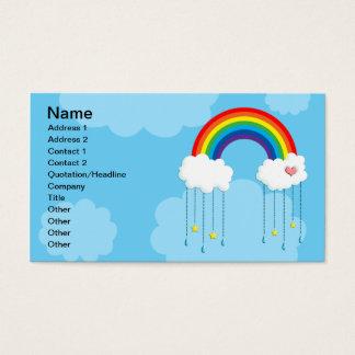 Rainbow and clouds raining stars business card