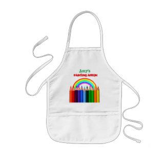 Rainbow and Color Pencils Artist Kids Apron