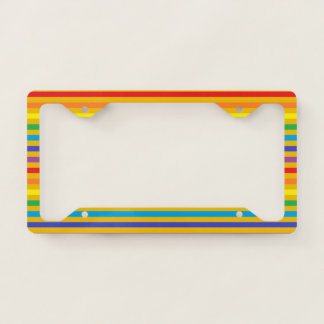 Rainbow and Gold Stripes License Plate Frame