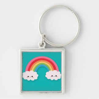 Rainbow and Happy Cluds on Teal Keychain