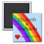 Rainbow and Heart Square Magnet