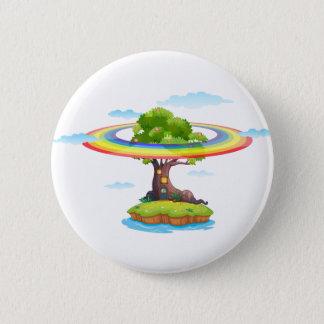 Rainbow and island 2 inch round button