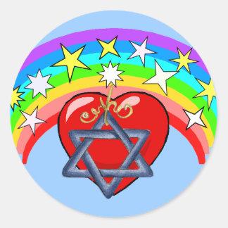 Rainbow and Jewish Stars Classic Round Sticker