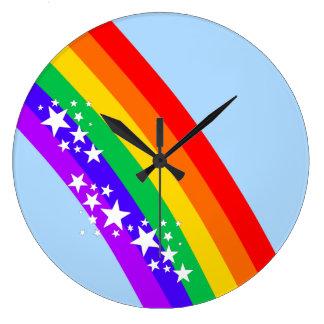 Rainbow and Stars Large Clock