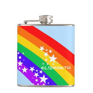 Rainbow and Stars-Personalized Hip Flask