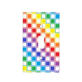 Rainbow and White Outlined Squares Light Switch Cover