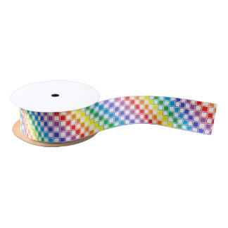 Rainbow and White Outlined Squares Satin Ribbon