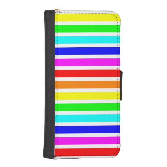Rainbow and White Stripe iPhone 5/5s Wallet Case