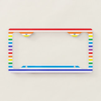 Rainbow and White Stripes License Plate Frame