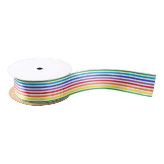 Rainbow and White Stripes Ribbon Satin Ribbon