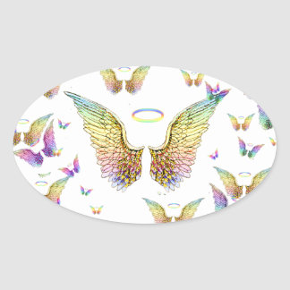 Rainbow Angel Wings and Halos Oval Sticker
