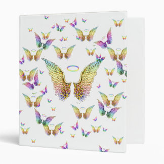 Rainbow Angel Wings and Halos Vinyl Binders