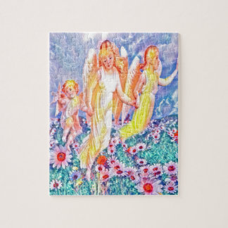 Rainbow Angels in Flower Field Jigsaw Puzzle