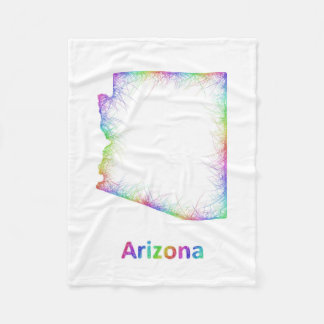 Rainbow Arizona map Fleece Blanket