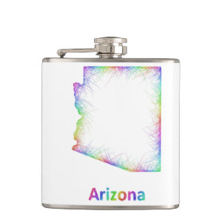 Rainbow Arizona map Hip Flask