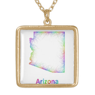 Rainbow Arkansas map Gold Plated Necklace