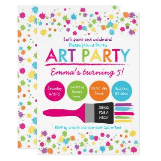 Rainbow Art Party Birthday Card