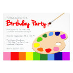 Rainbow Artist Palette Painting Birthday Party Invitations