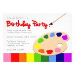 Rainbow Artist Palette Painting Birthday Party Invitations