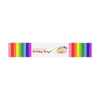 Rainbow Artist Palette Painting Birthday Party Invitation Belly Band
