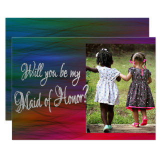 Rainbow Ask Maid of Honor Bold Vibrant Watercolor Card