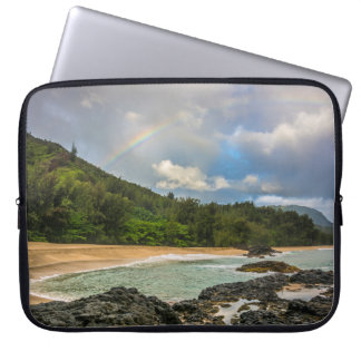 Rainbow at Lumaha'i Beach, Kauai, Hawaii Wetsuit Laptop Sleeve