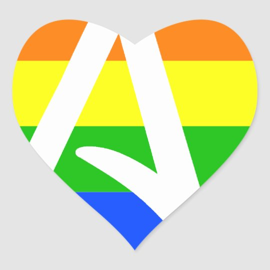 Rainbow Atheist Flag Heart Sticker