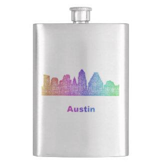 Rainbow Austin skyline Flask