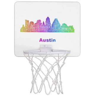 Rainbow Austin skyline Mini Basketball Backboard