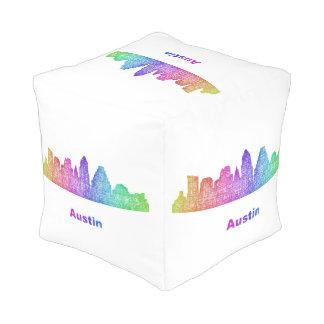 Rainbow Austin skyline Pouf