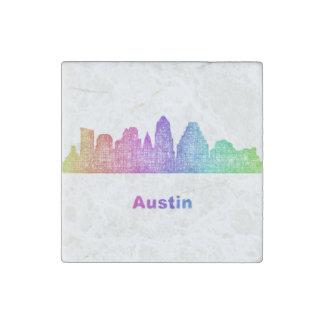 Rainbow Austin skyline Stone Magnets