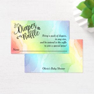 Rainbow Baby Diaper Raffle Ticket, Black Script Business Card