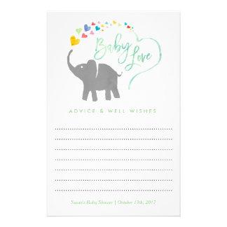 Rainbow Baby, Elephant Baby Shower Advice Card