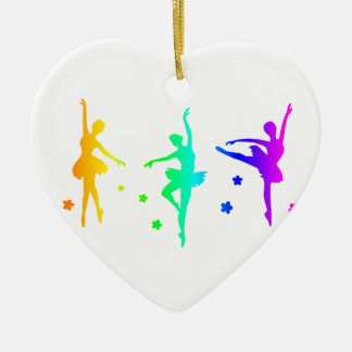 Rainbow Ballet Ceramic Heart Ornament