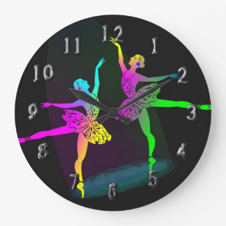 Rainbow Ballet Dancers In The Spotlight Large Clock