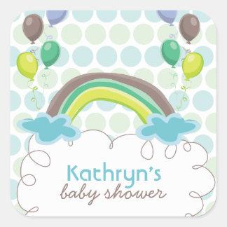 Rainbow Balloons Baby Boy Shower Sticker