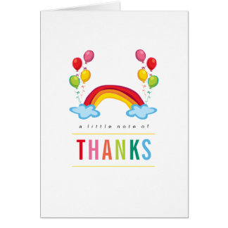 Rainbow & Balloons Birthday Thank You Note Card