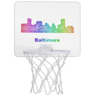 Rainbow Baltimore skyline Mini Basketball Backboard