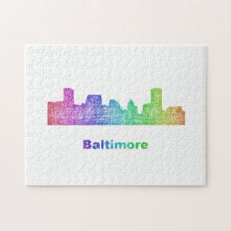 Rainbow Baltimore skyline Puzzles