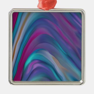 Rainbow Bands product line Silver-Colored Square Ornament