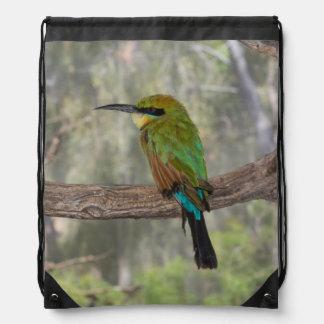 Rainbow bee-eater bird, Australia Drawstring Bag