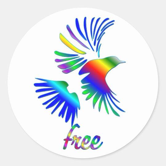 Rainbow Bird Classic Round Sticker