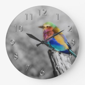 Rainbow Bird Large Clock