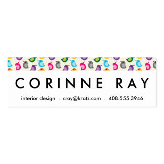 Rainbow Bird Print Girly Colorful Birdie Pattern Mini Business Card